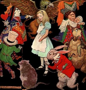 Alice in Wonderland. Drawing by Jessie Wilcox Smith 1915. From Wikipedia Commons.